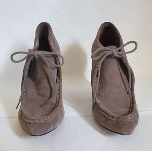 Loeffler Randall Suede Heels - taupe in color.
